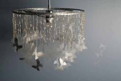 свой цитатник или сообщество!  Бабочки под вашим потолком.  Вам понадобится: Круглый абажур старой лампы с 2 кругами.