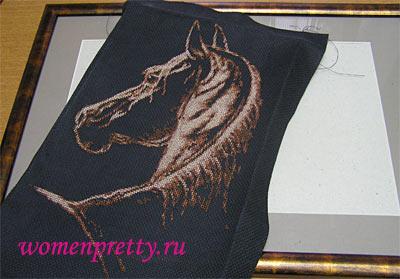 Оформление вышивки в рамку со стеклом